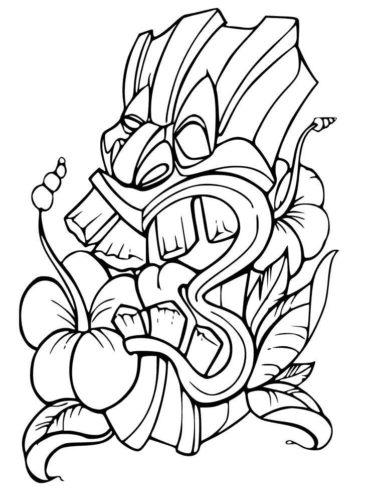 732x985 Tiki Mask Tattoo Designs