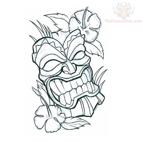 500x500 Tiki Mask With Flower Tattoo Design