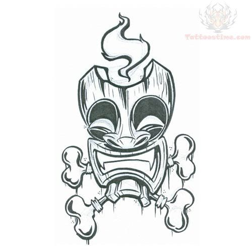 500x500 Tiki Tattoo Tiki Mask With Bones Tattoo Design Tiki