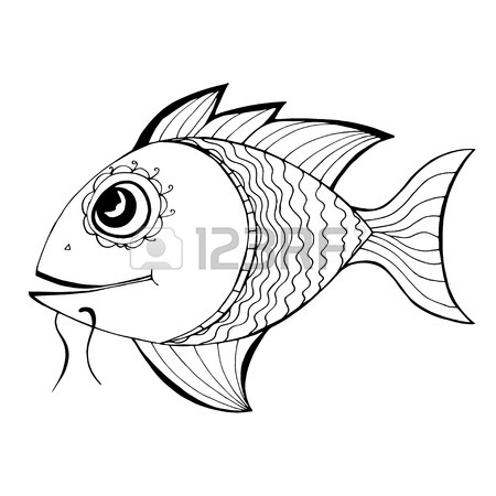 450x450 Black Fresh Fish, In Engraving Etching Sketch Hand Drawing Style