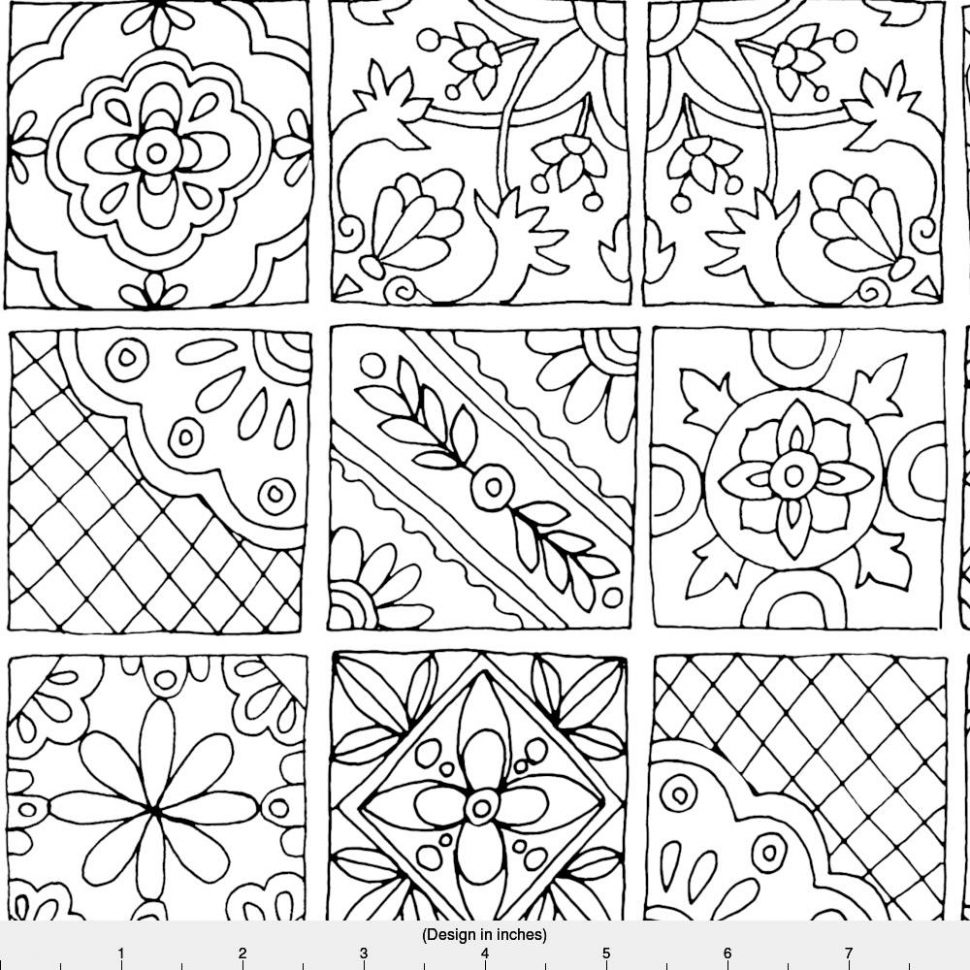 Tiles Drawing At GetDrawingscom Free For Personal Use Tiles - Black and white talavera tile