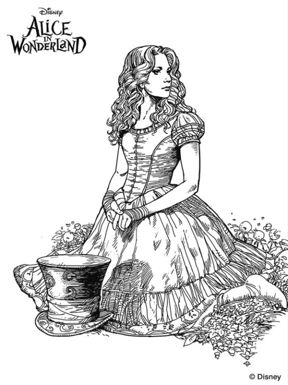 575x768 Kids N 11 Coloring Pages Of Alice In Wonderland (Tim Burton)
