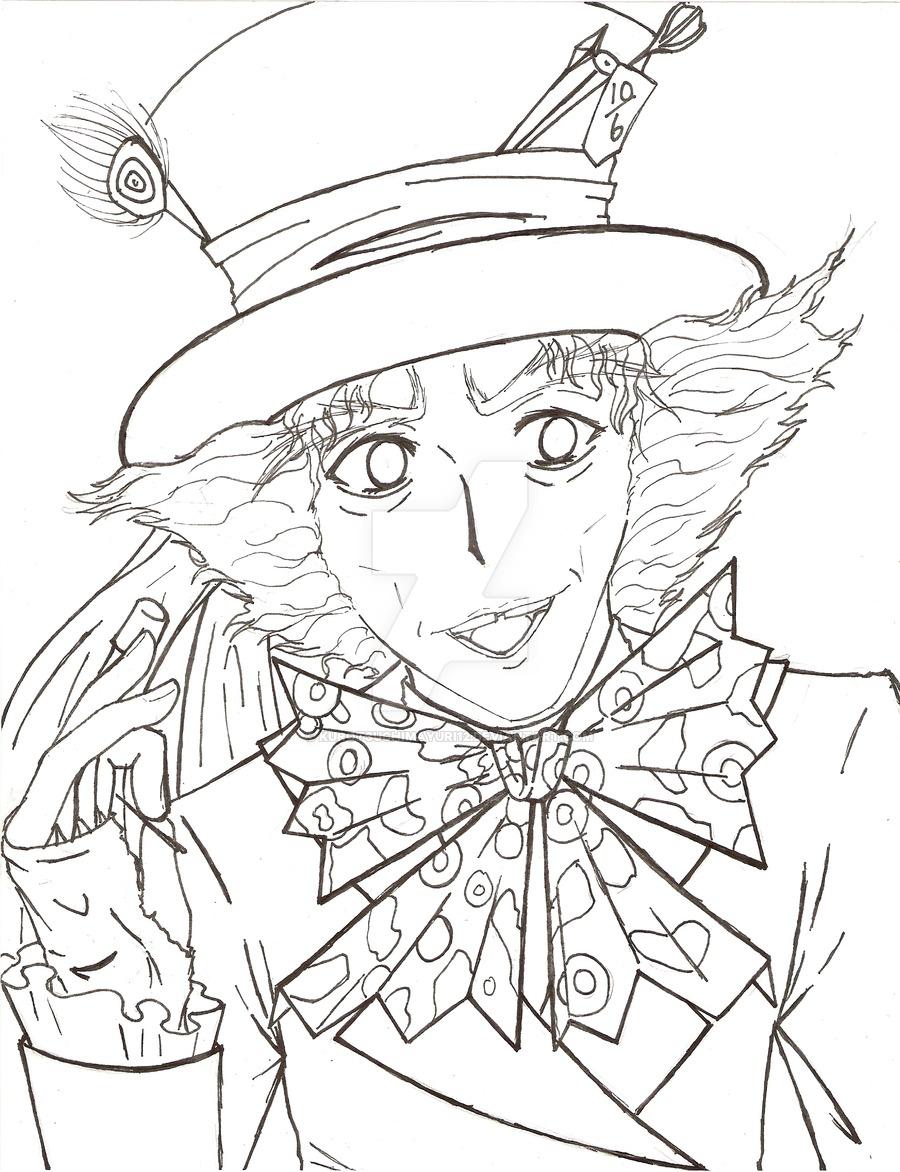 900x1172 The Mad Hatter Line Art By Kurotsuchimayuri12