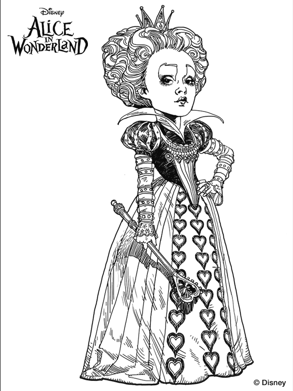 600x800 Tim Burton's Alice In Wonderland Coloring Page. We'Re All Mad