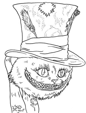 368x480 Tim Burton's Cheshire Cat Coloring Page Free Printable Coloring