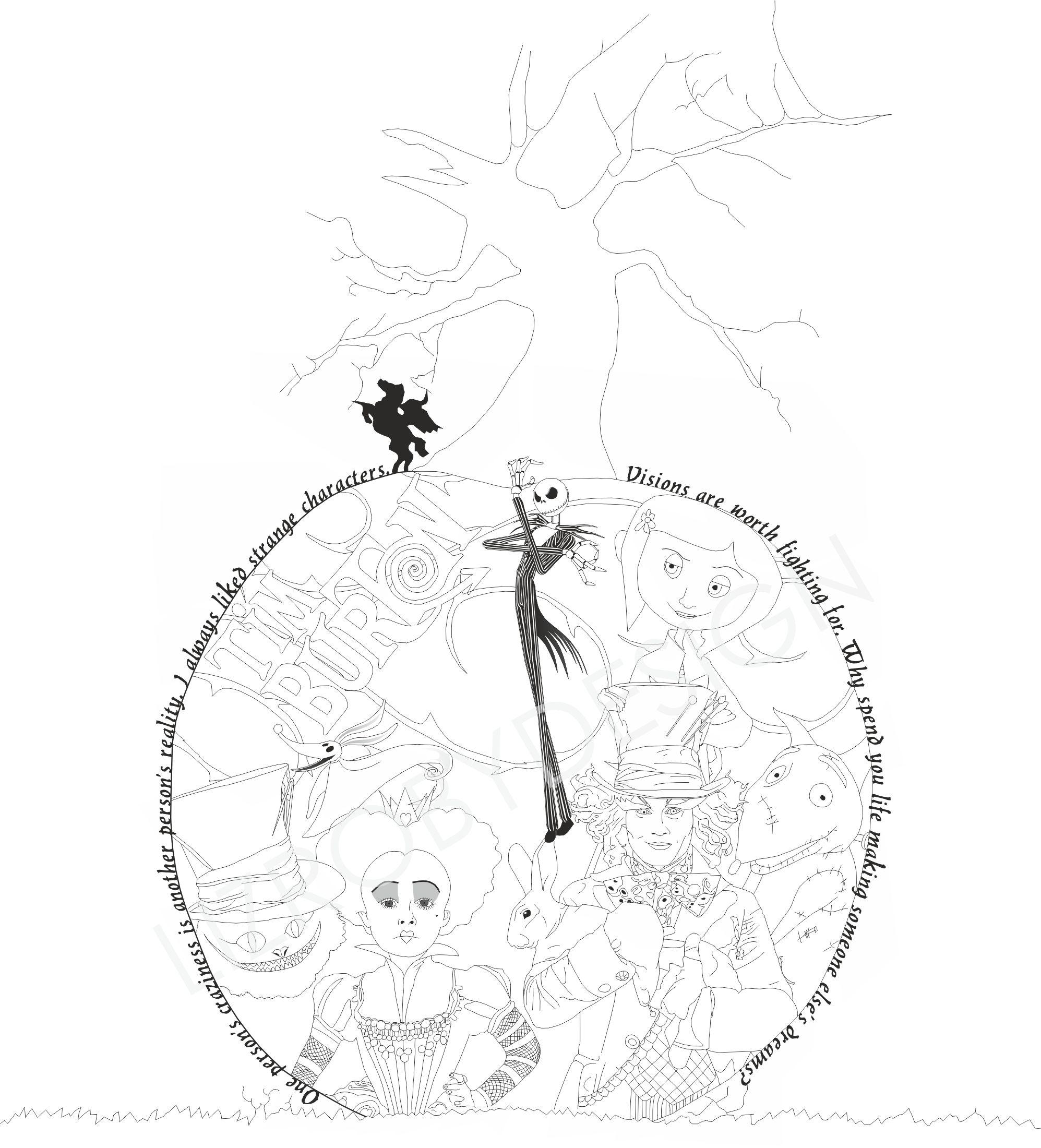 1995x2200 Tim Burton Tattoo Sleepy Hollow, Jack Skeleton, James And