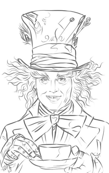445x700 Mad Hatter Drawing Mad, Alice And Drawings