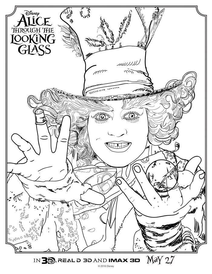 700x906 Alice Through The Looking Glass Coloring Sheets Movie Sequels