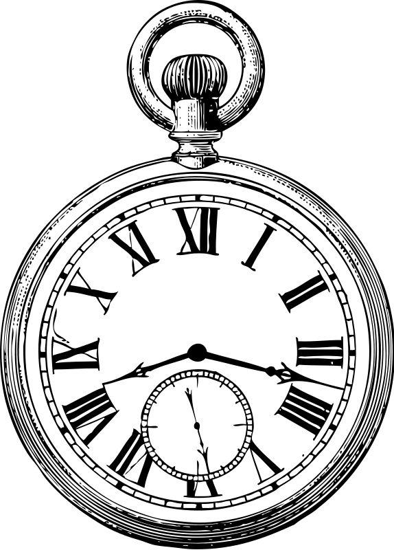574x800 Drawn Pocket Watch Old Time
