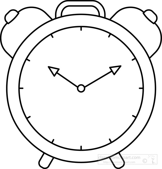 525x550 Objects Clipart Alarm Clock Time Black White Outline