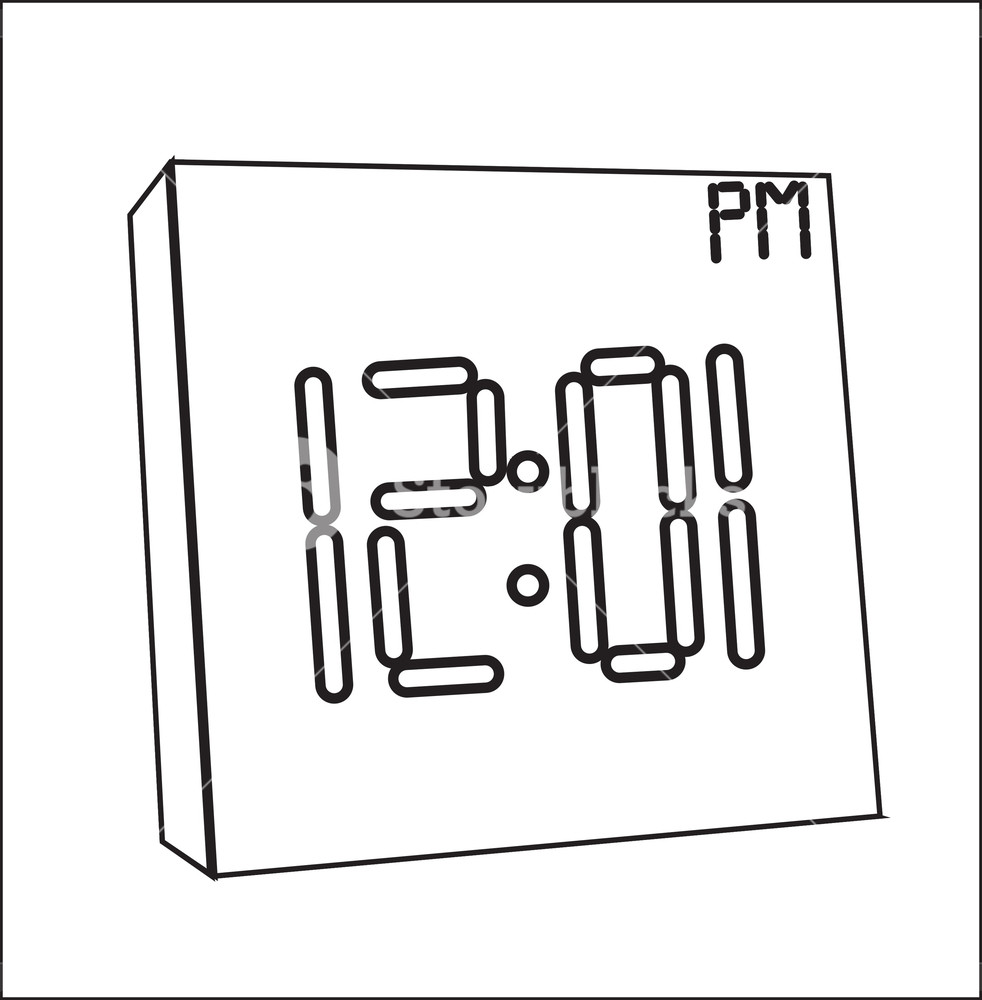 982x1000 Time Clock Drawing Royalty Free Stock Image