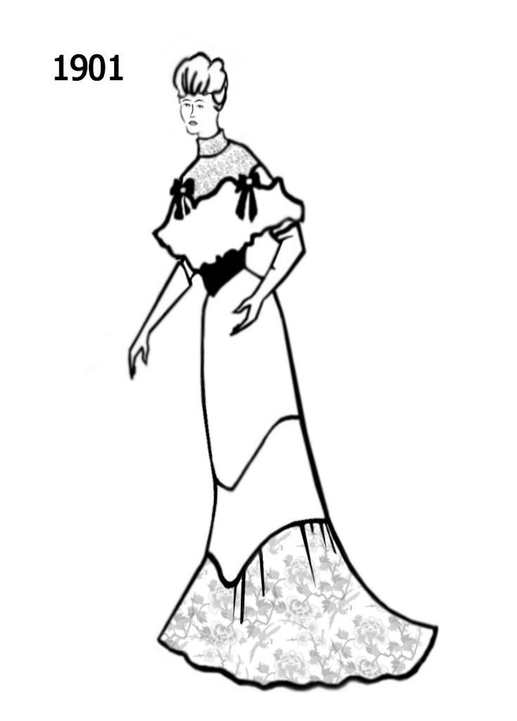 734x1024 Fashion Silhouettes Timeline Drawing 1901 Edwardian Era Fashion