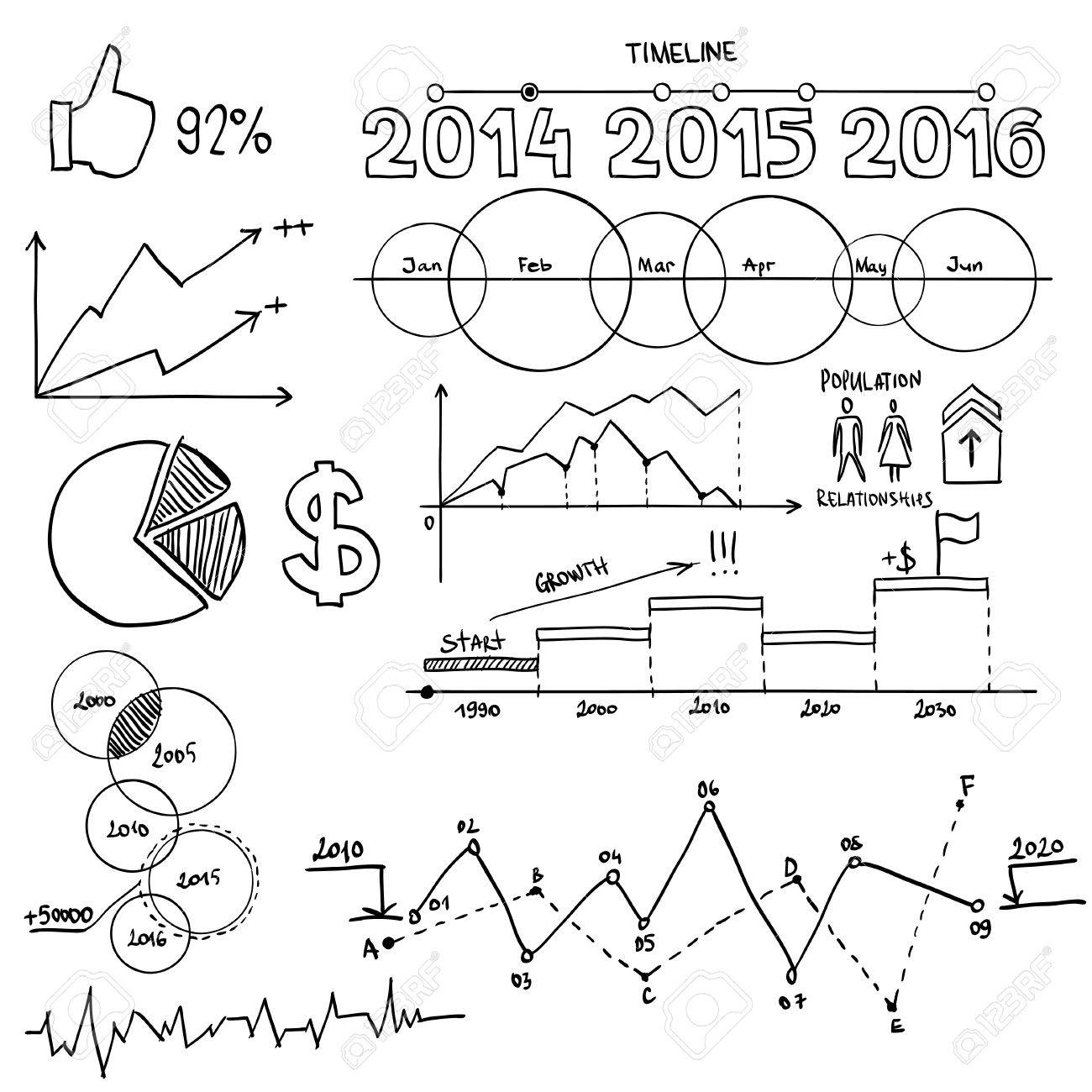 1300x1300 Business And Finanse Hand Draw Doodle Elements Graph Chart