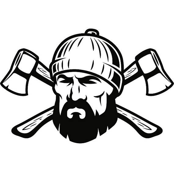 570x570 Lumberjack Logo 5 Axes Crossed Tool Chop Forrest Trees Woods