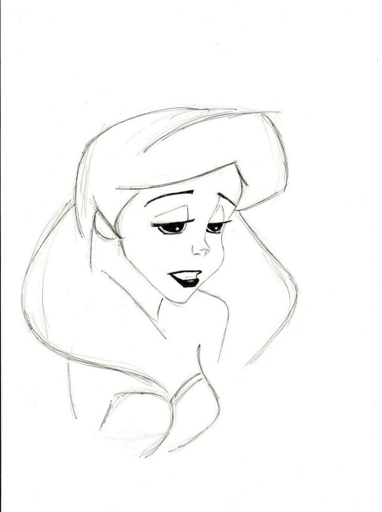 763x1024 Outline Pencil Drawings Pencil Sketch Of Sad Ariel Mlatimerridley