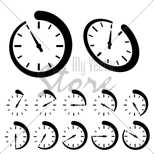 500x500 Vector Round Black Timer Icons