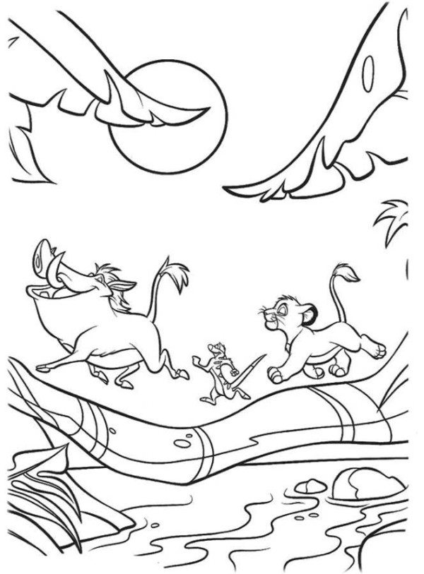 600x813 Simba, Timon And Pumbaa Crossing A Bridge The Lion King Coloring