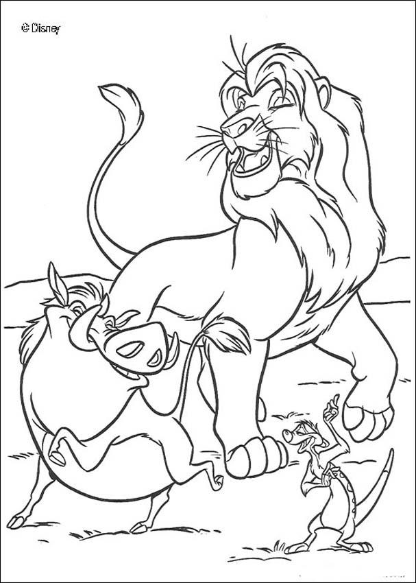 607x850 Singing Simba, Timon And Pumbaa Coloring Pages