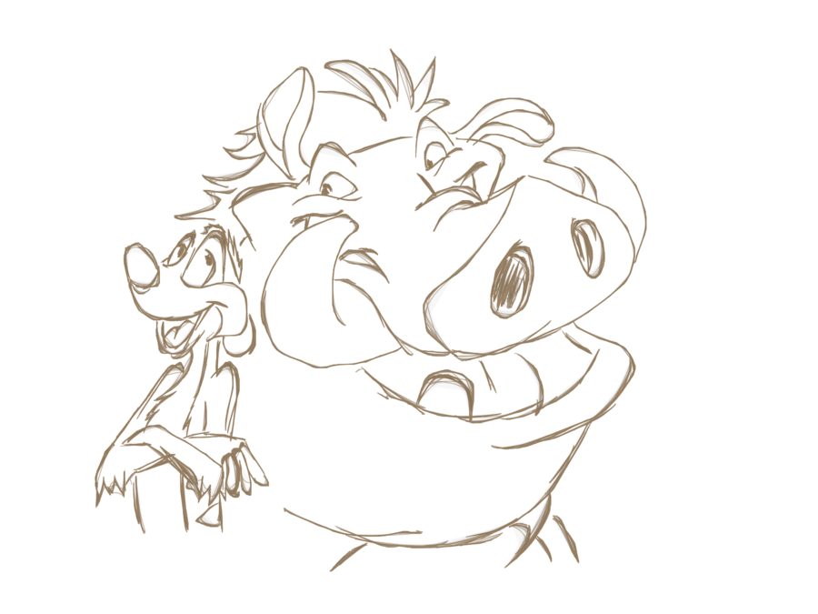 900x675 Timon And Pumbaa Sketch By Thesa V