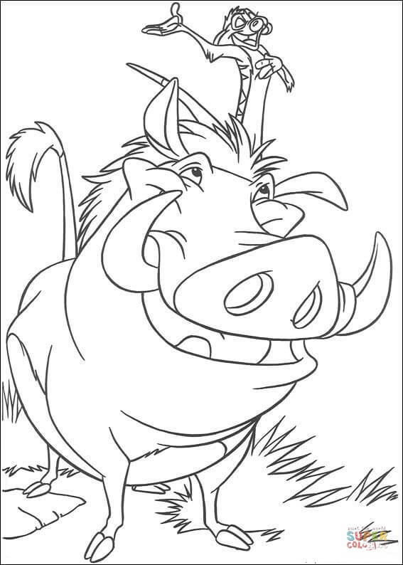 567x794 Timon And Pumbaa Coloring Page Free Printable Coloring Pages