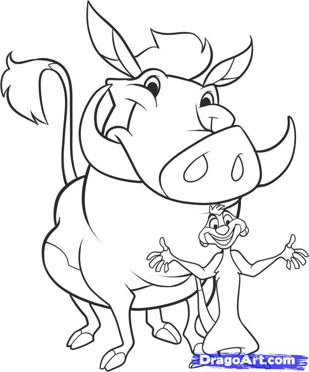 622x749 How To Draw Timon And Pumbaa Step 10 Disney Warner Bros