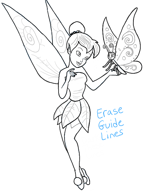 472x625 How To Draw Tinkerbell Holding A Butterfly With Easy To Follow