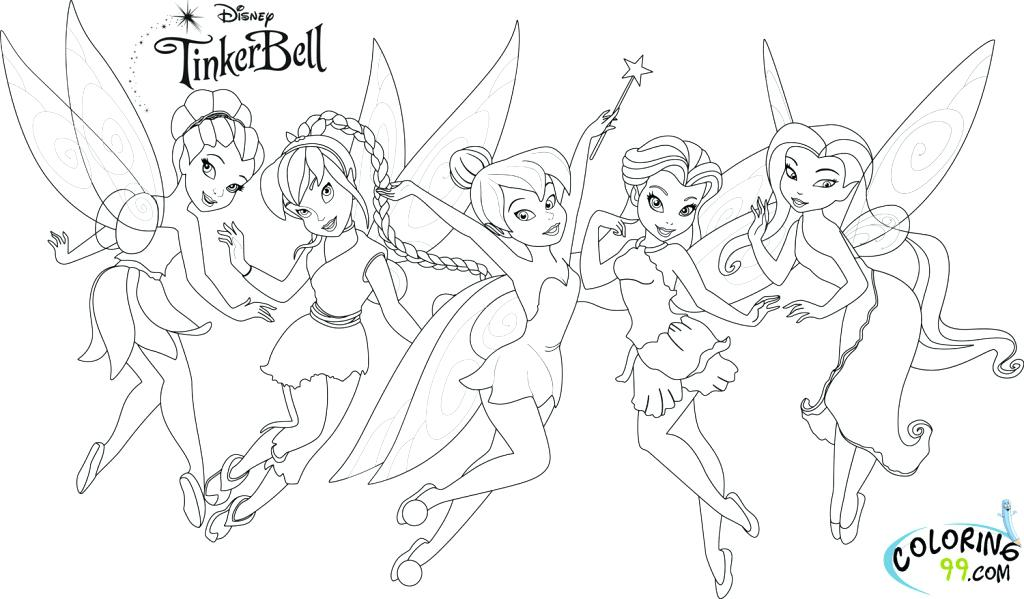 1024x599 Tinkerbell And Her Friends Coloring Pages Printable For Tiny Print
