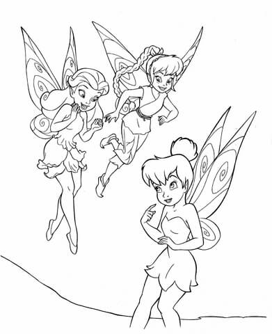 391x480 Tinkerbell With Friends Coloring Page Free Printable Coloring Pages