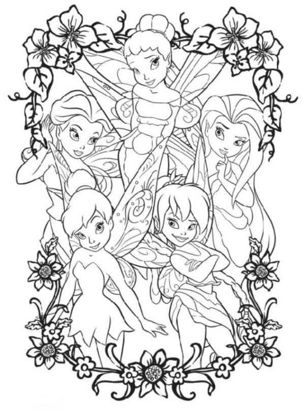600x812 Coloring Pages Of Tinkerbell And Friends