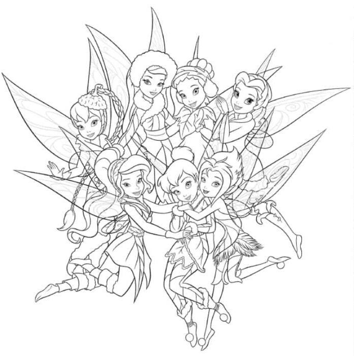 698x701 Tinkerbell And Her Friends Coloring Pages Coloring Pages