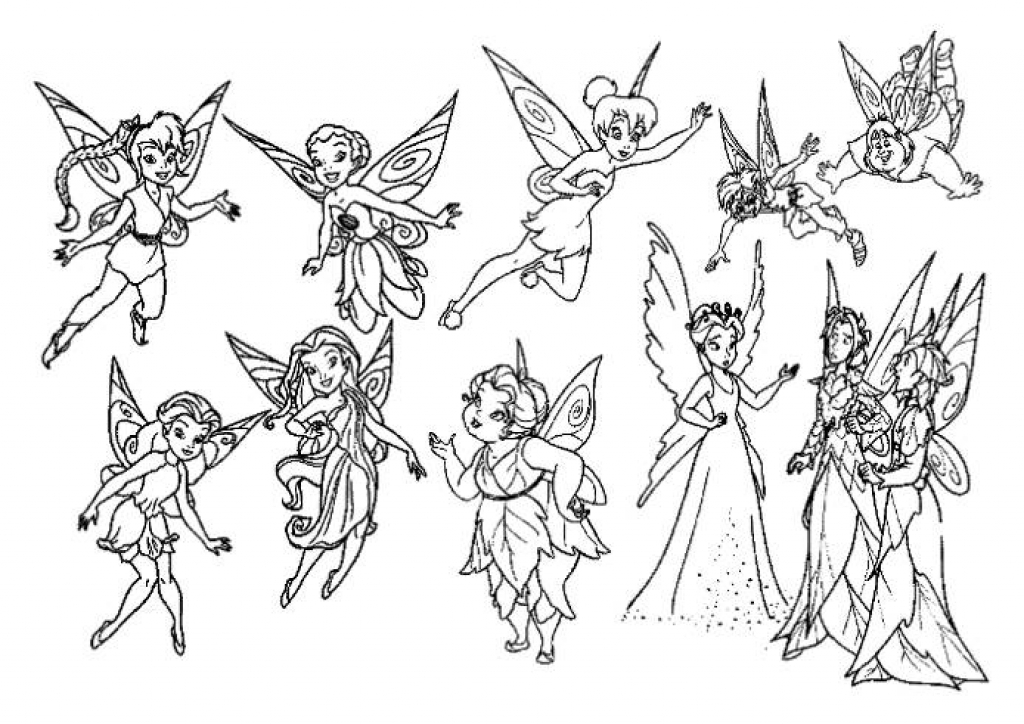 1024x724 Print Tinkerbell And Friends Coloring Pages For Girls Or Download