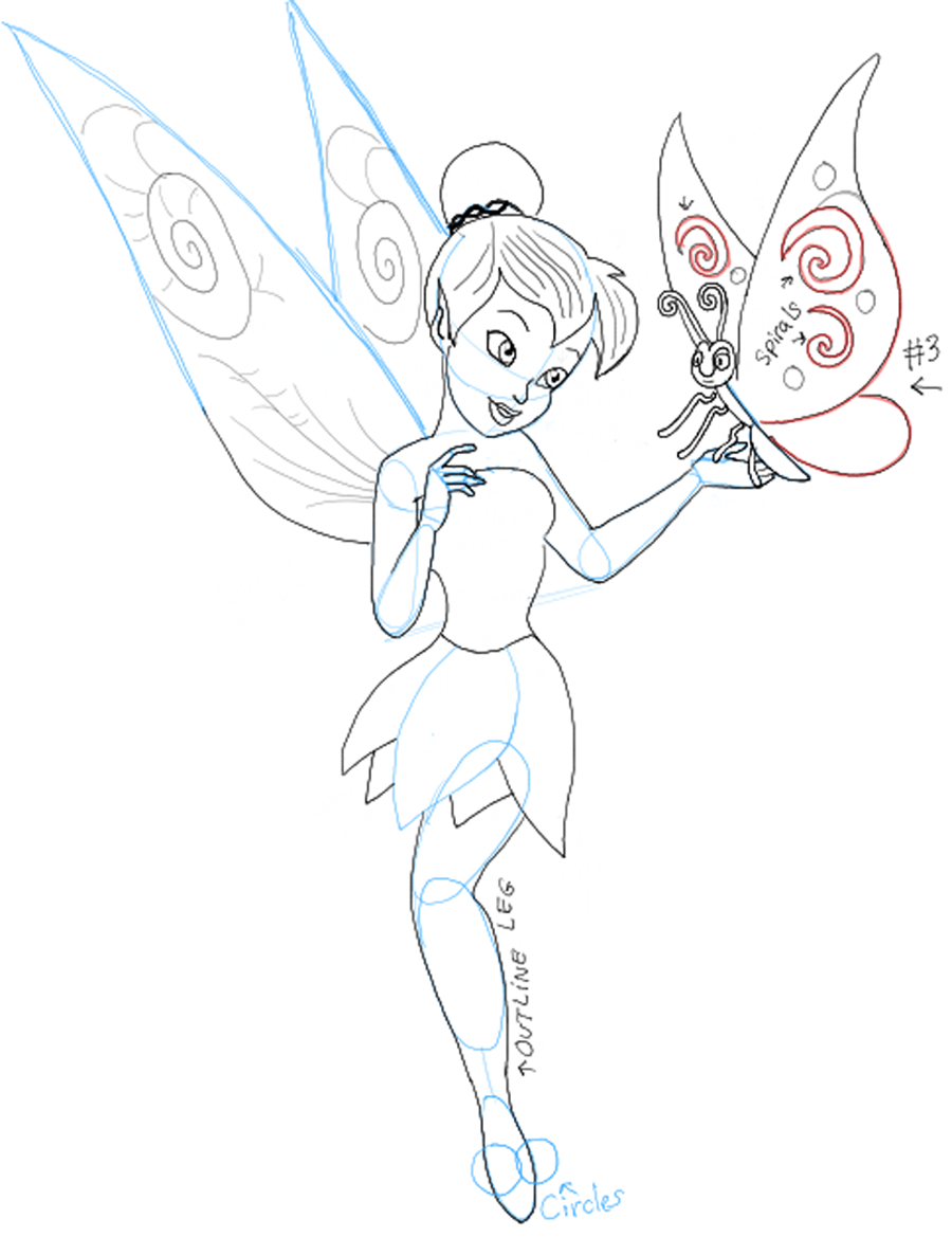 900x1169 Tinker Bell Drawing How To Draw Tinkerbell Holding A Butterfly