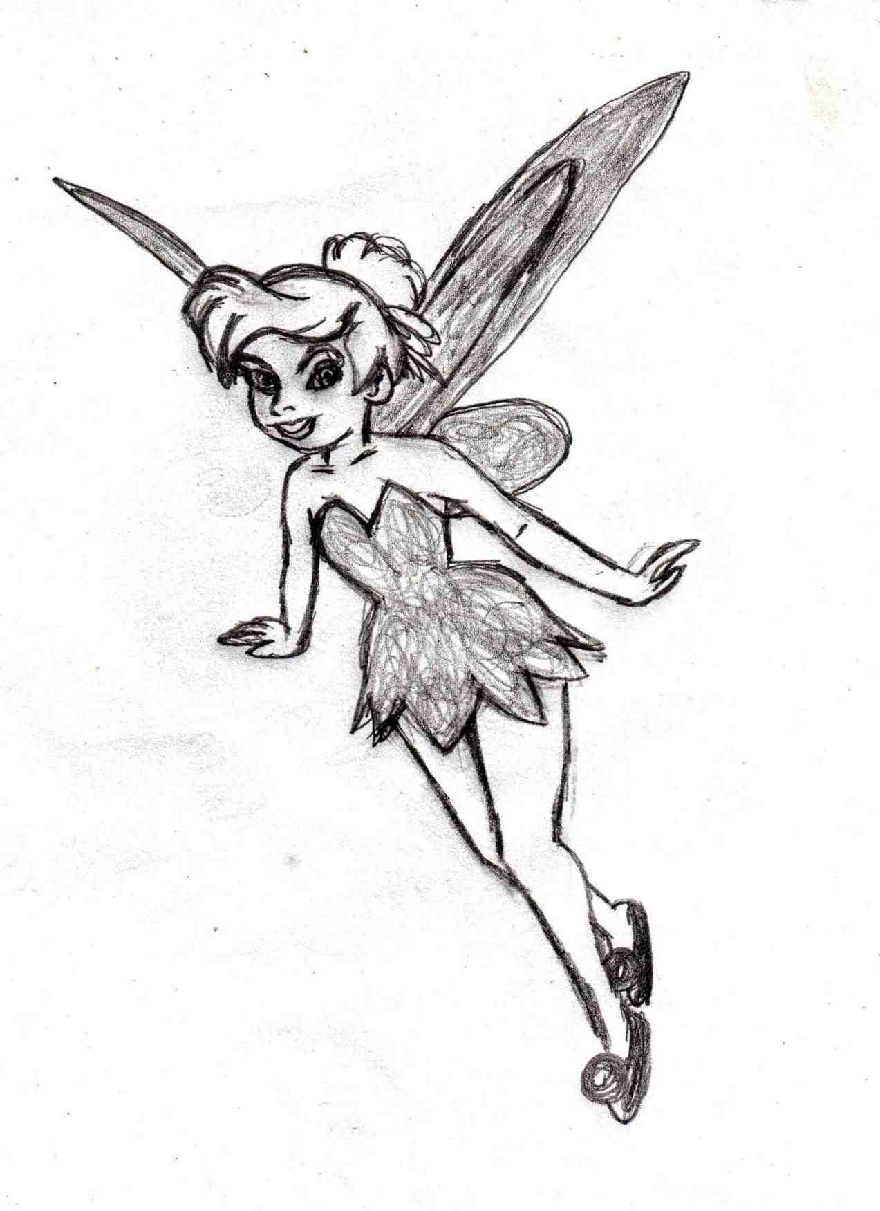 1273x1751 Easy Pencil Drawings Of Tinkerbell