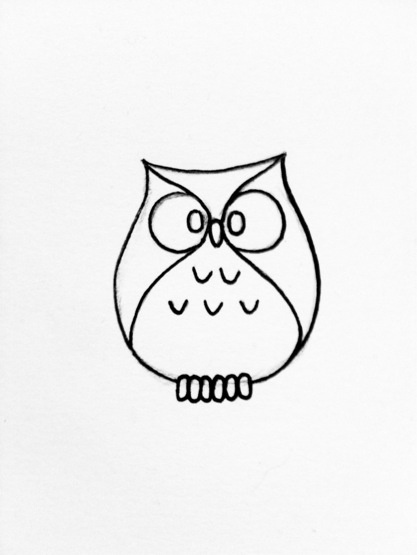 417x555 Simple Owl Drawing