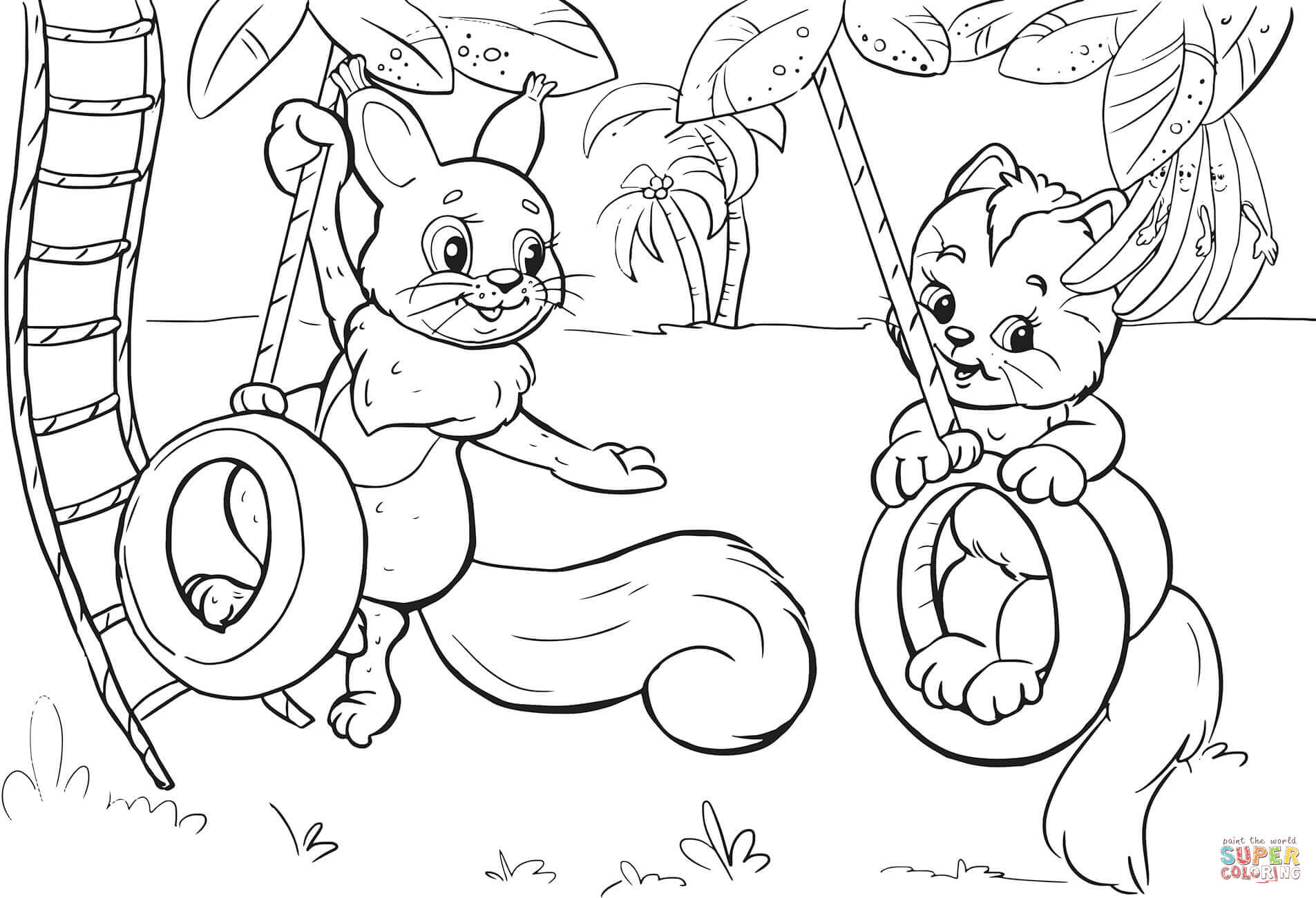 1905x1300 Squirrel And Cat Swinging On Tire Swing Coloring Page Free