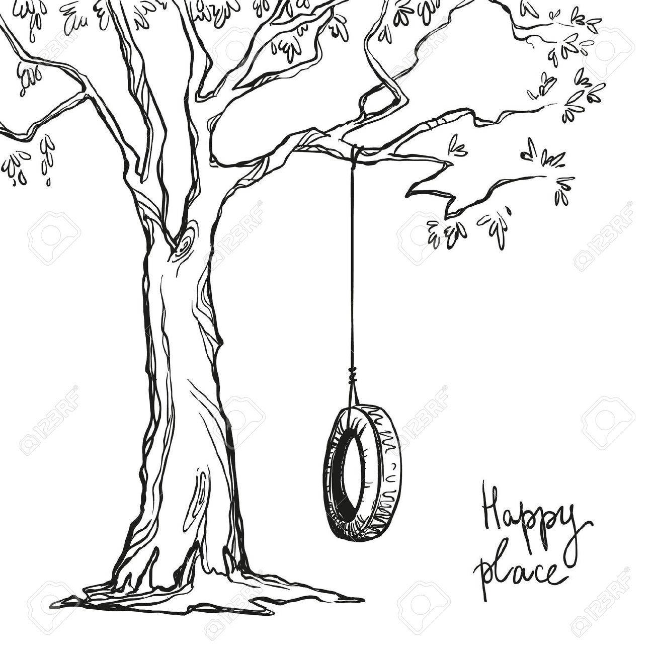 1300x1298 Tyre Swing Tree Drawing Inspo Tattoos