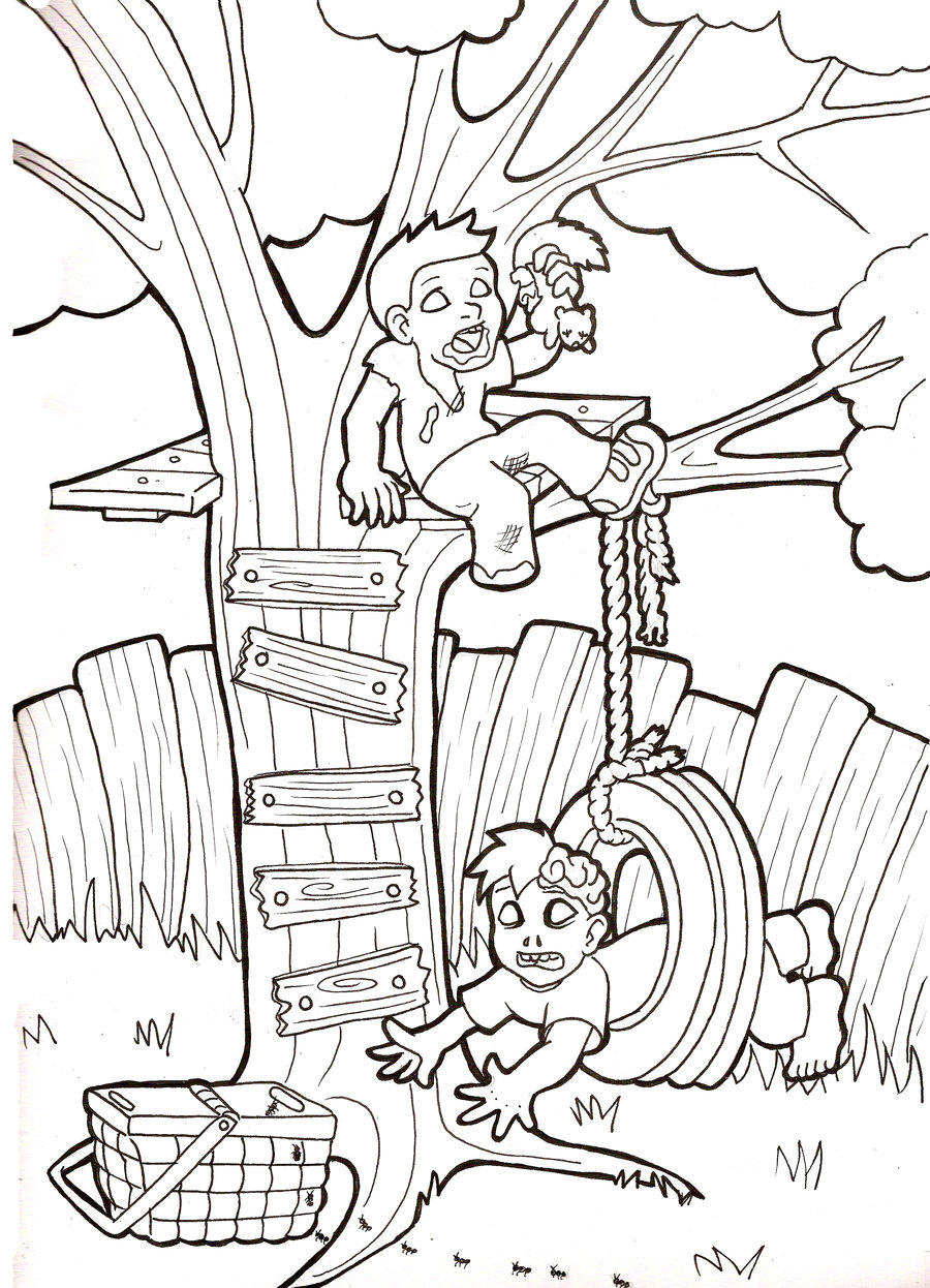 900x1246 Zombie Babies Tire Swing By Zombiebabies