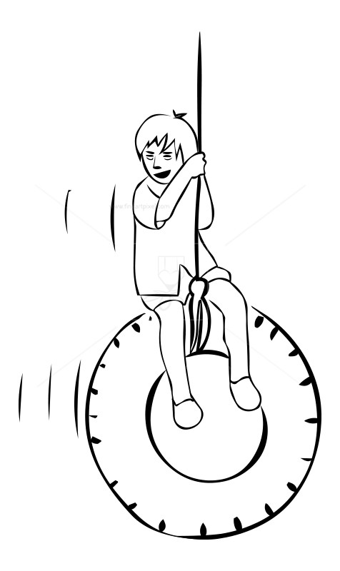 476x800 Boy Swinging Outline Drawing Free Vectors, Illustrations