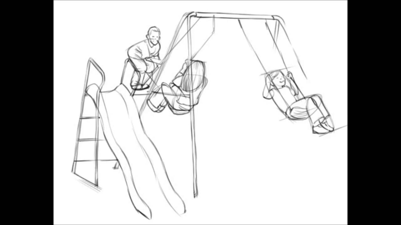 1280x720 Drawing Of A Swing