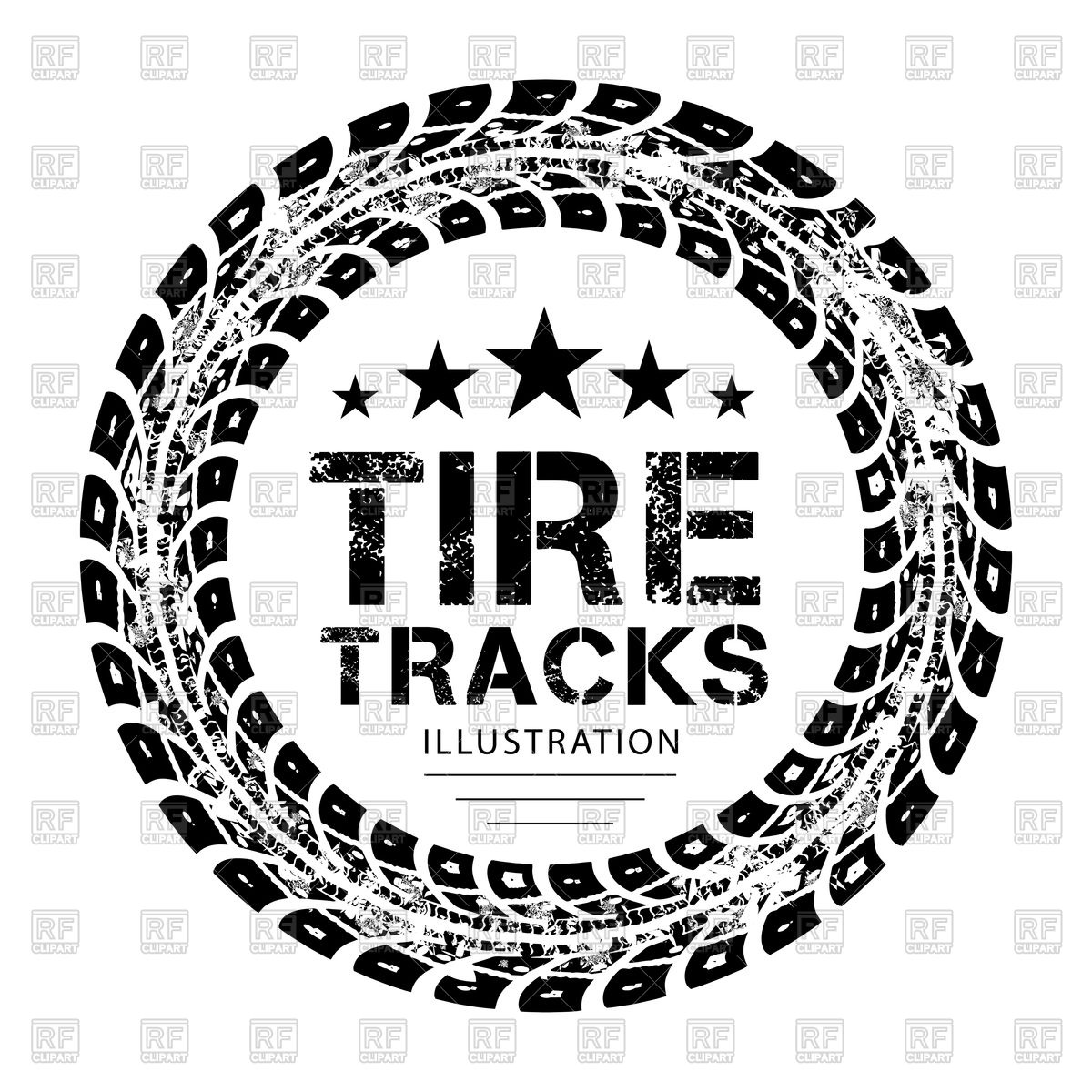 1200x1200 Round Tire Tracks Royalty Free Vector Clip Art Image
