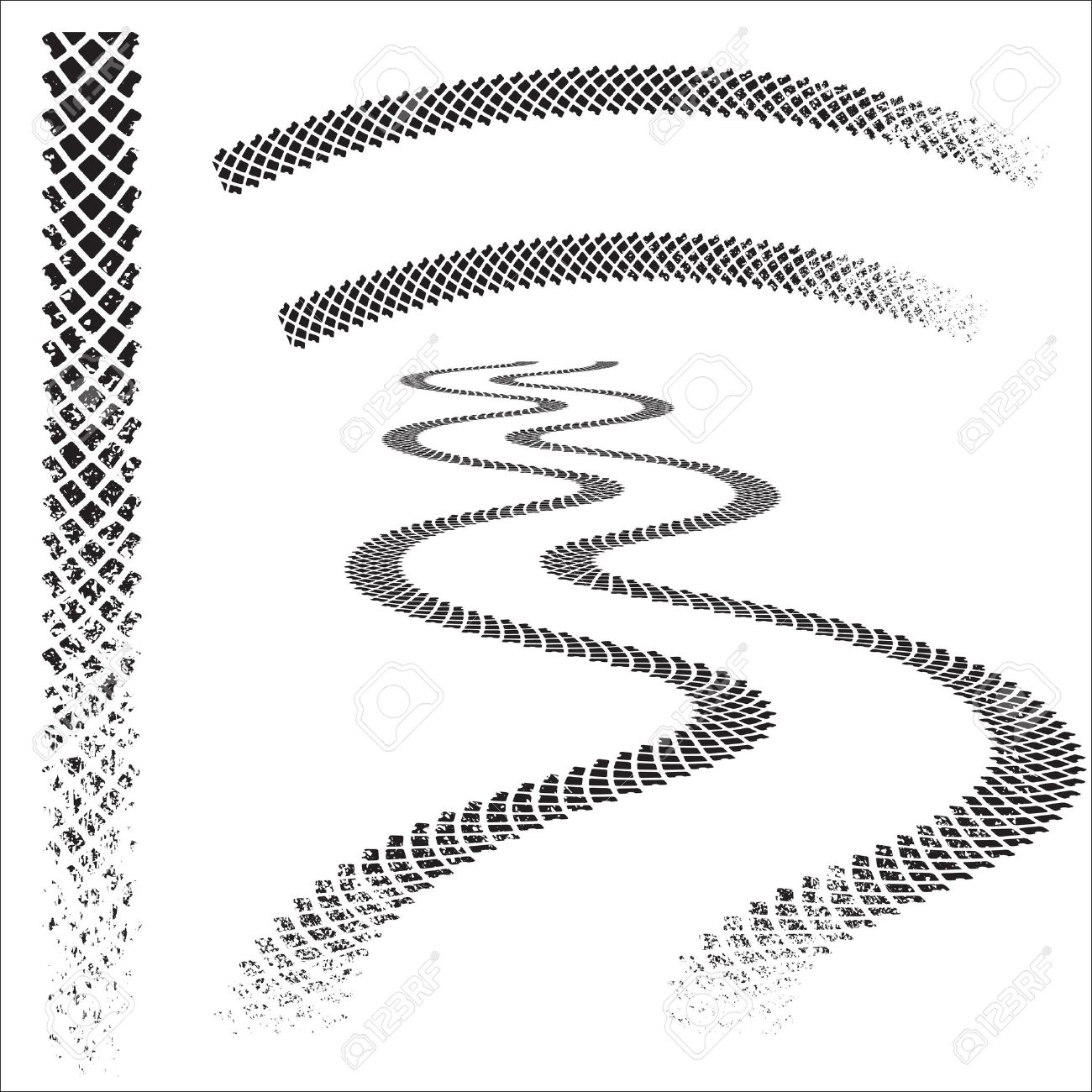 1300x1300 Set Of High Quality Grunged Tire Tracks Royalty Free Cliparts