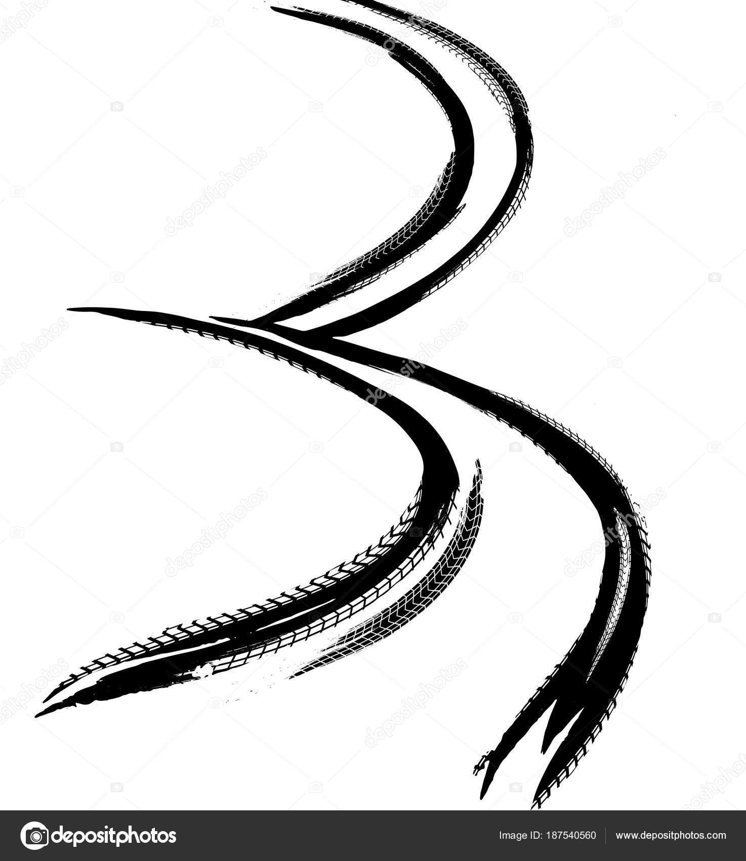 1474x1700 Tire Track Road Stock Vector Annyart
