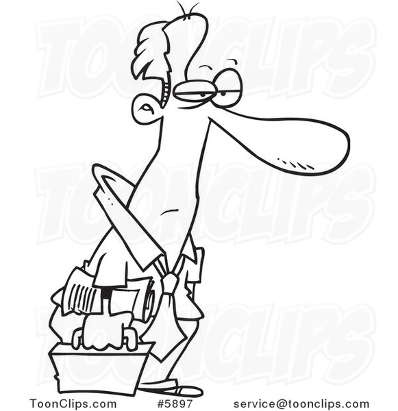 581x600 Cartoon Black And White Line Drawing Of A Tired Business Man