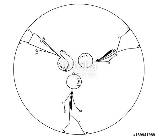 500x441 Cartoon Stick Man Drawing Conceptual Illustration Of Team Of Three