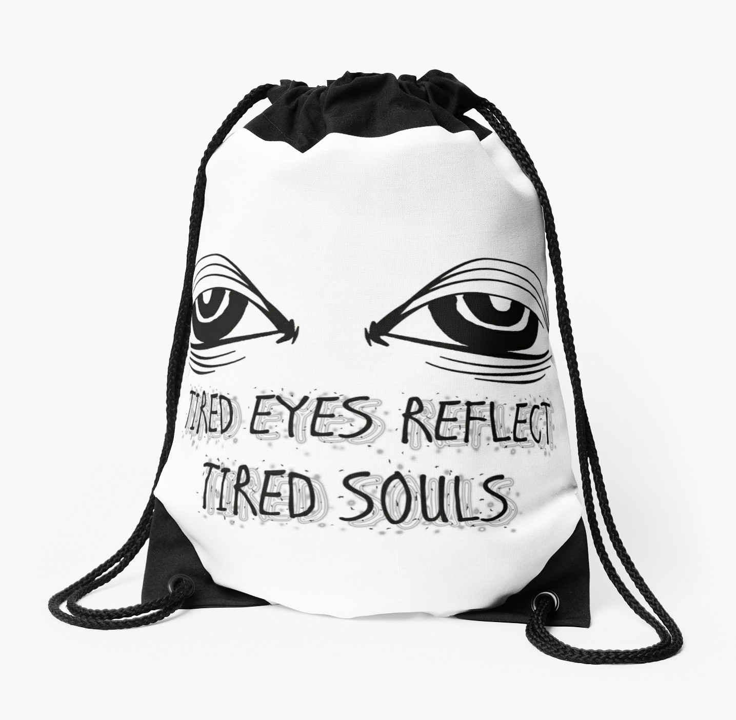 1435x1404 Tired Eyes Reflect Tired Souls Drawstring Bags By Mari Nicole