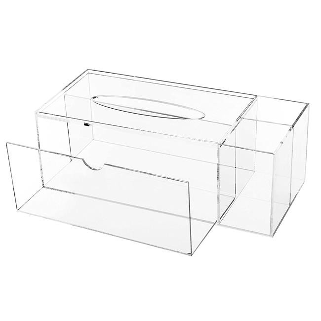 650x650 Acrylic Tissue Box With Drawer, Acrylic Tissue Box With Drawer