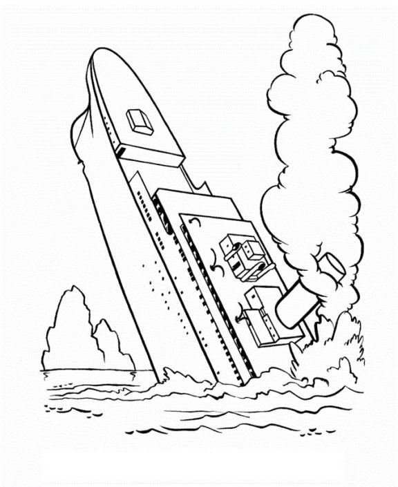 576x705 Titanic Coloring Pages Free (Charming How To Draw A Sinking Ship