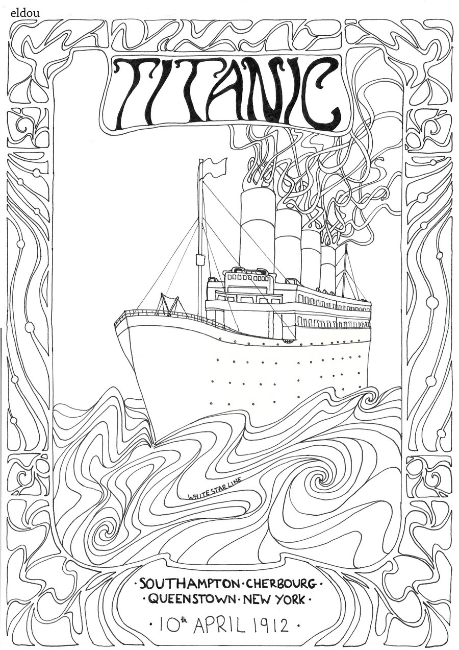 900x1273 Titanic Poster Line Drawing. By Eldou