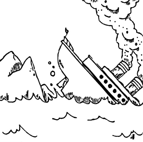 600x596 Titanic Sink After Crash Into An Iceberg Coloring Pages Batch