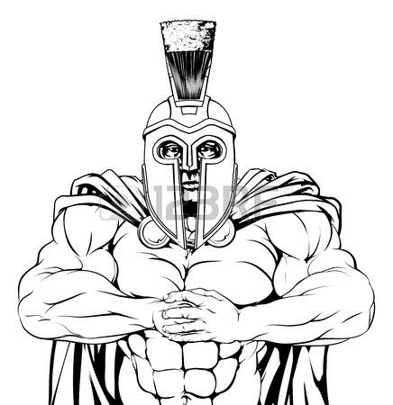 436x450 A Tough Muscular Trojan, Spartan Or Gladiator Mascot Character